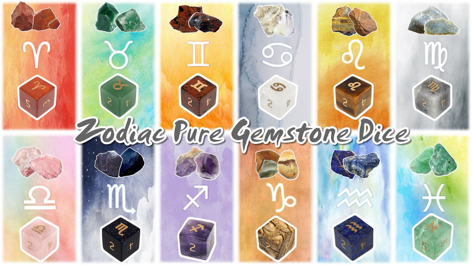 Gemstone d6 dice with Zodiac symbols engraved into them. For collections, dungeons and dragons, board games, tabletop games, and more!