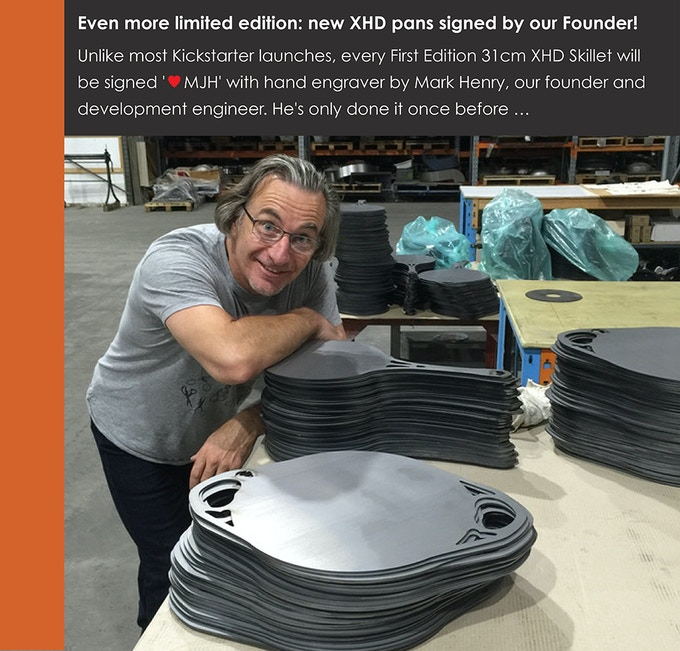 MJ Henry exhausted after engraving 1,000 pans last time. Now we can't get him on the engraver too often: 'oooh, the cramps'! So these initialled pans will be rare collectibles indeed!