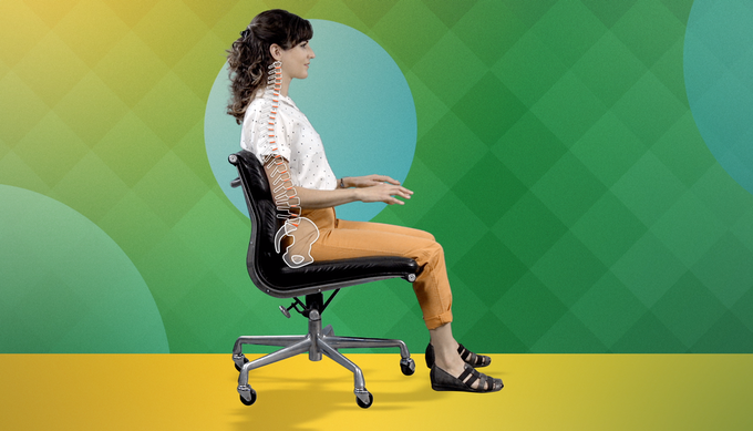 Example from the Brightday app of how to sit in a relaxed position.