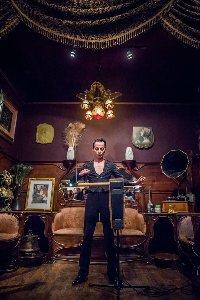 Armen Ra performing on the theremin at the Century Guild Museum of Art in Los Angeles