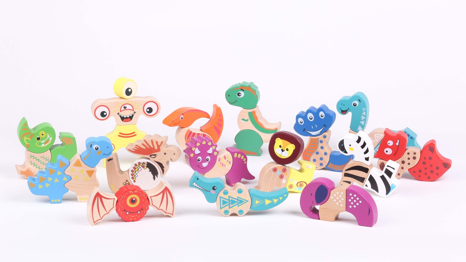 15 adorable characters, each consisting of 3 magnetic wooden blocks = multiple fun assembly solutions & endless play combinations.