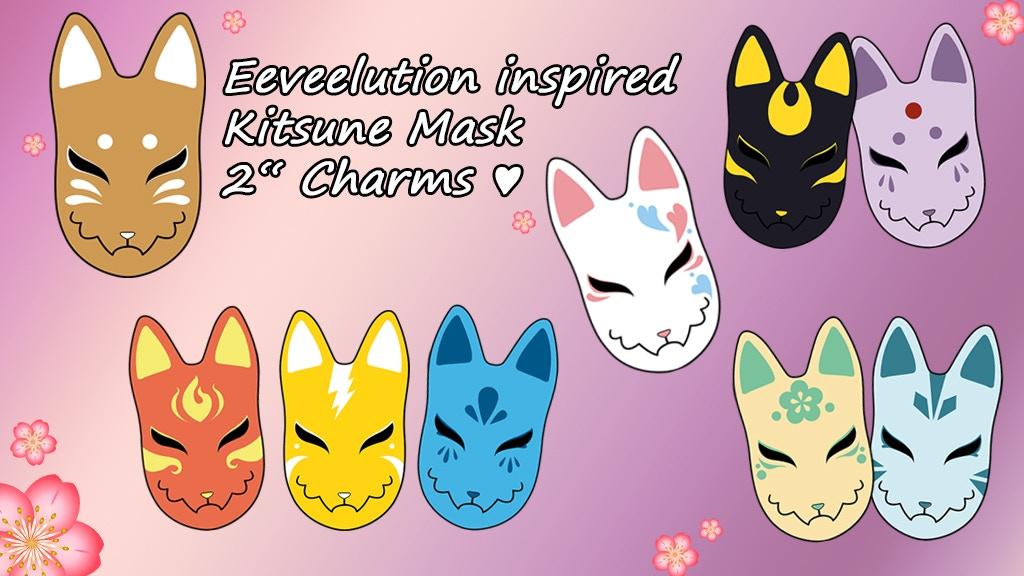 Eeveelution Kitsune-Mask Charms