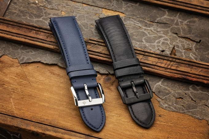 Blue & Black Quick Release Leather Straps with Engraved Logo on Buckle