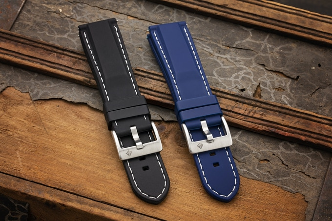 Black & Blue Quick Release Rubber Straps with Engraved Logo on Buckle