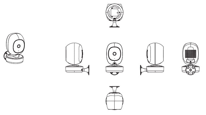 A CAD drawing of the SimCam with wall mount.