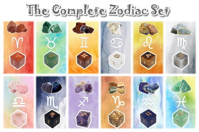Handmade Zodiac Pure Gemstone Dice by Diving Hippo Studio