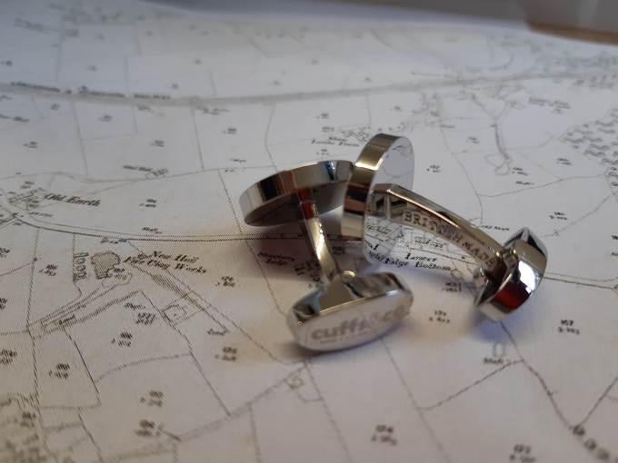 We are proud to make our cufflinks here, so we mark them all BRITISH MADE