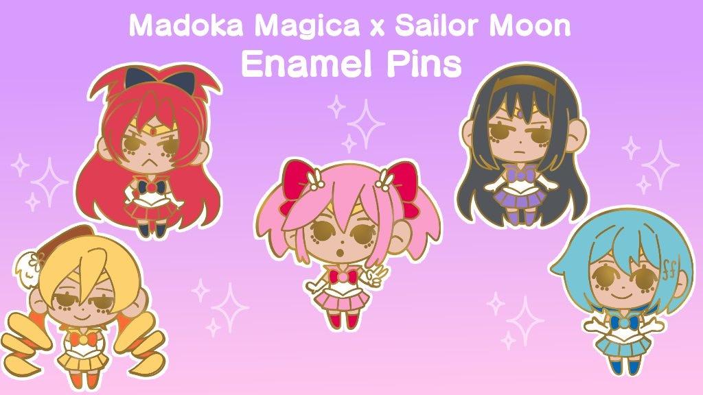 Magical Girls Madoka x Sailor Moon Hard Enamel Pins