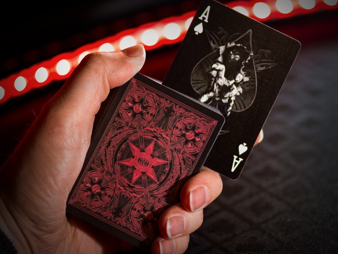 Cards shown WITHOUT metallic ink.  Actual deck will have metallic red ink.