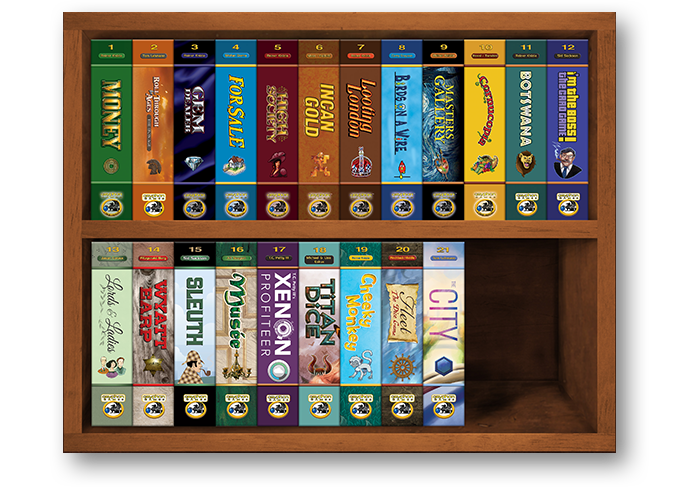 The full Gryphon Bookshelf Series with The City added, early 2019
