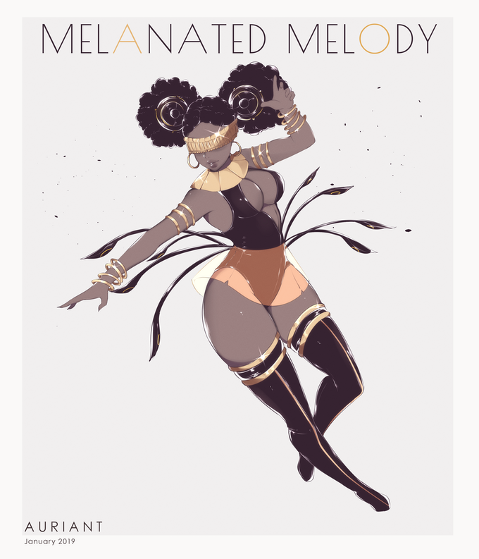 Original artwork of The Melanated Melody by Auriant. Prints available for a limited time only through this KickStarter!