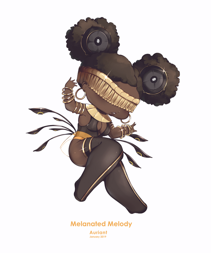 Original artwork of chibi The Melanated Melody by Auriant. Vinyl stickers available for a limited time only through this KickStarter!