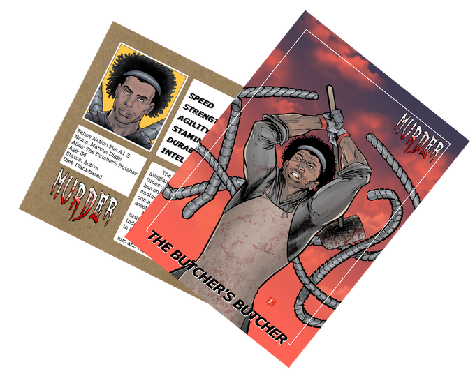 Trading card of The Butcher's Butcher by Emiliano Correa. Part of a 9-card mural, including new Melanated Melody trading card art. Preview coming soon!