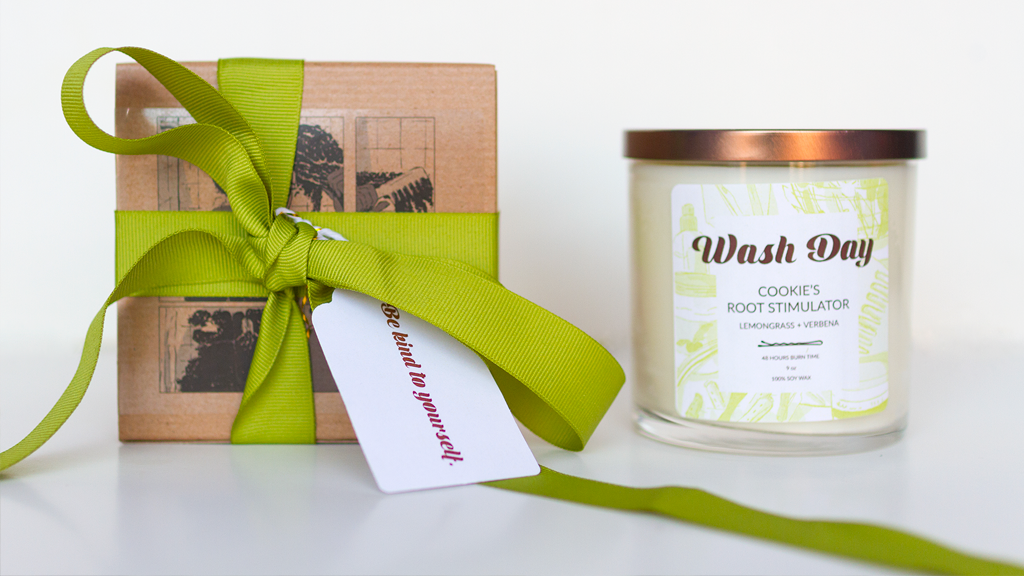 Limited-edition, hand-poured, soy wax candles inspired by the 'Wash Day' comic book.