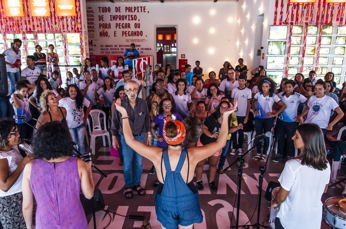 LADAMA giving a workshop while in residence at Paco do Frevo in Recife, Brazil