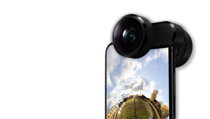 FusionLens 2.0: Capture stunning anamorphic, 8mm wide-angle, fisheye and 360 with all-in-one lens clip-on.