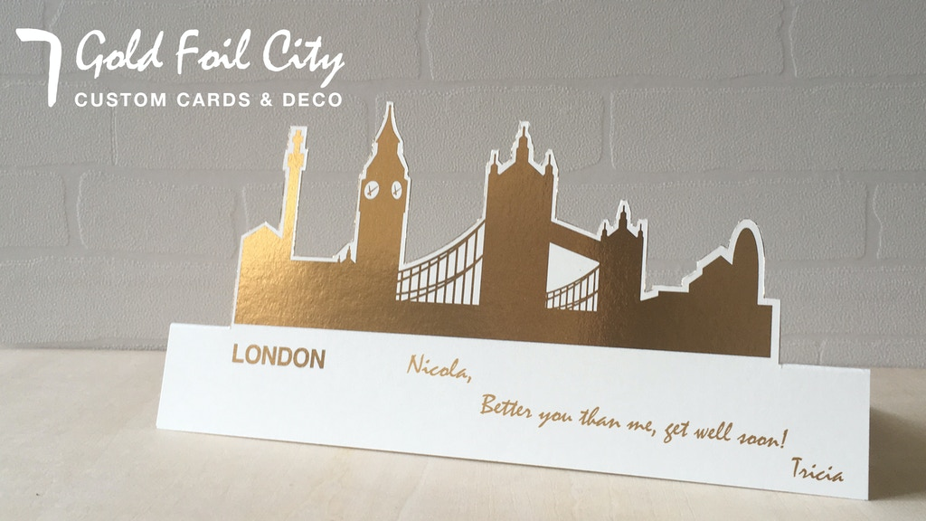 Project image for MAKE 100: Deco Card, 7 Gold Foil City Greeting Card (Canceled)