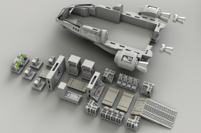 Modular standard deck plan of shuttle interior.