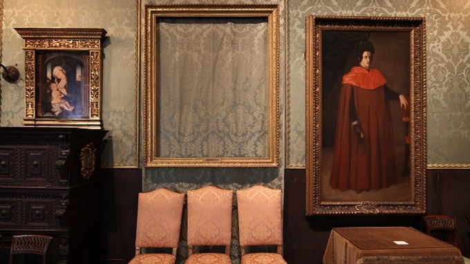 The empty frame that once contained one of the 13 masterpieces stolen from the Isabella Stewart Gardner Museum...and never recovered.
