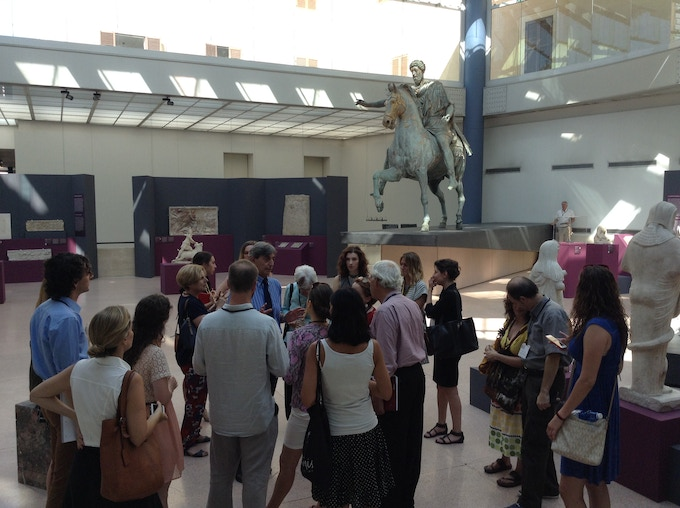 ARCA students with their professor engaged in a security evaluation of Rome's Capitoline Museum