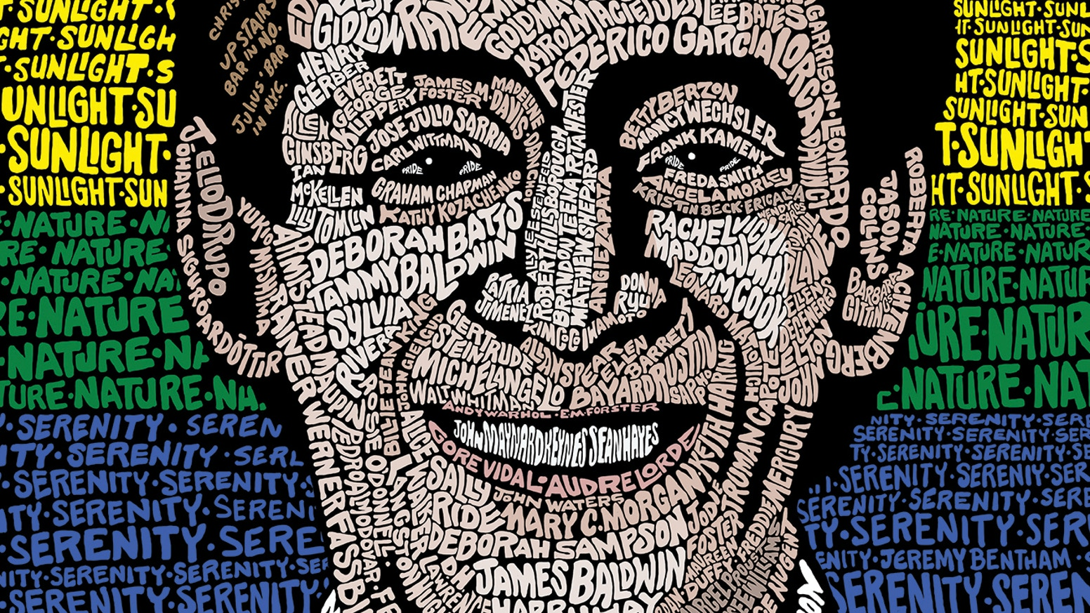 Limited-Edition HARVEY MILK: Hope Will Never Be Silent screen print...  made up of names from over 150 figures from LGBTQ history.