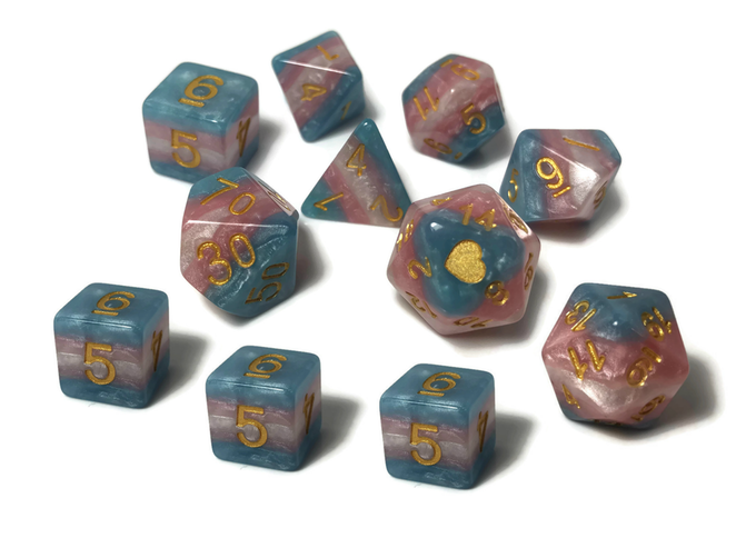 Trans Pride dice by Heartbeat