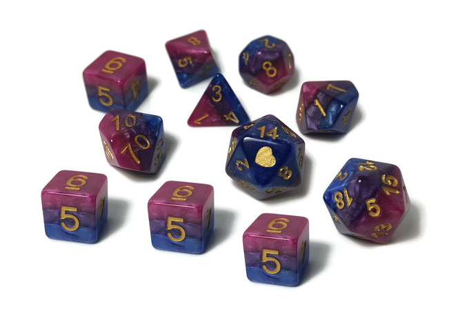 Bi Pride dice by Heartbeat