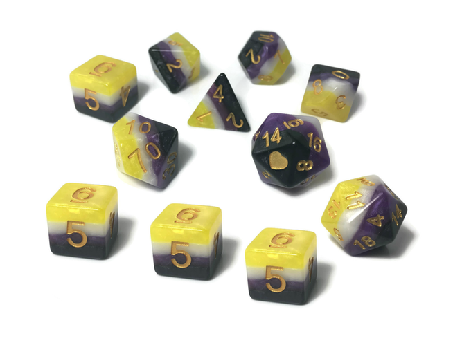 Non Binary Pride dice by Heartbeat