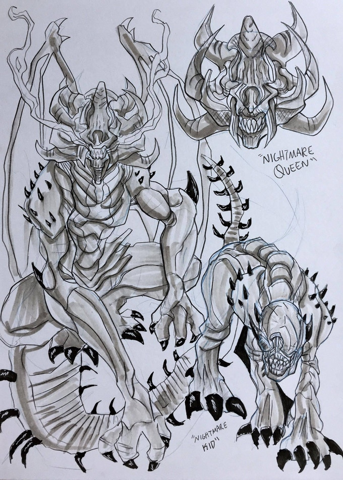Nightmare Queen and Kid Concept Art by Ben Worrell