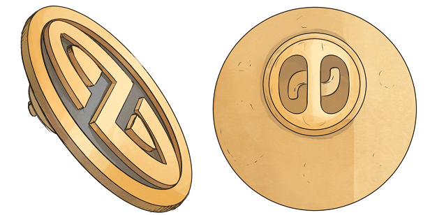 Hard enamel pin of the United Galactic Alliance logo, drawn by Mikael.