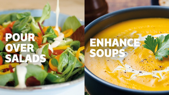 Pour over lovely fresh salads and enhance wholesome dishes like this butternut squash soup.