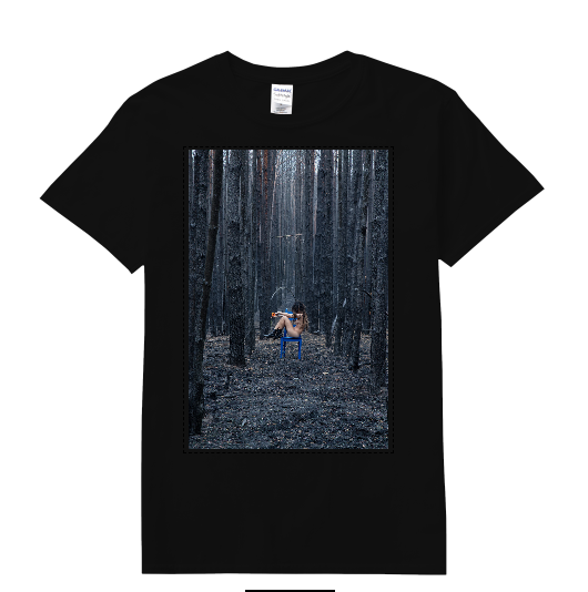 Black T-Shirt with Wild girl with Flower on Blue Chair, 2018