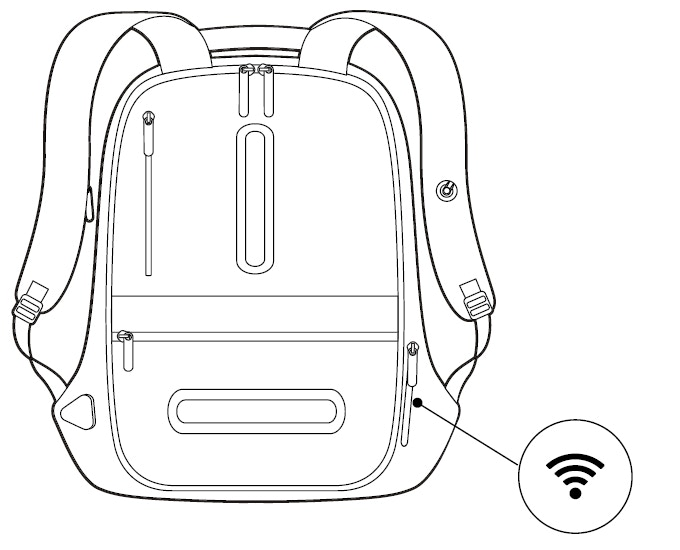Wireless Charging module stored in backpocket