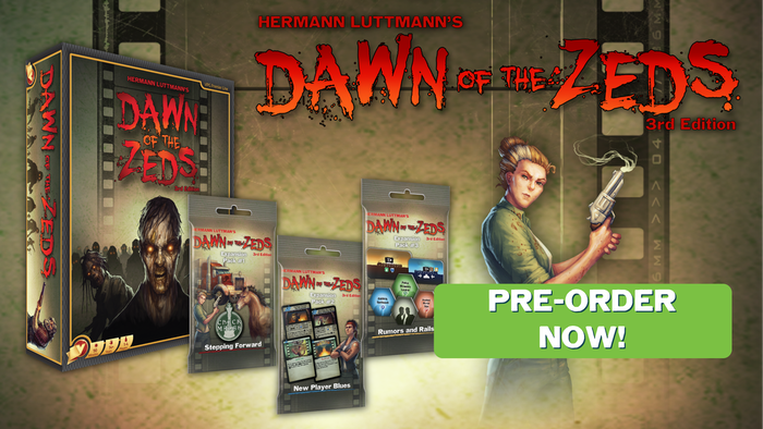 Along with the game's reprint, discover new heroes, events, and more in three new expansions for Dawn of the Zeds: Third Edition!