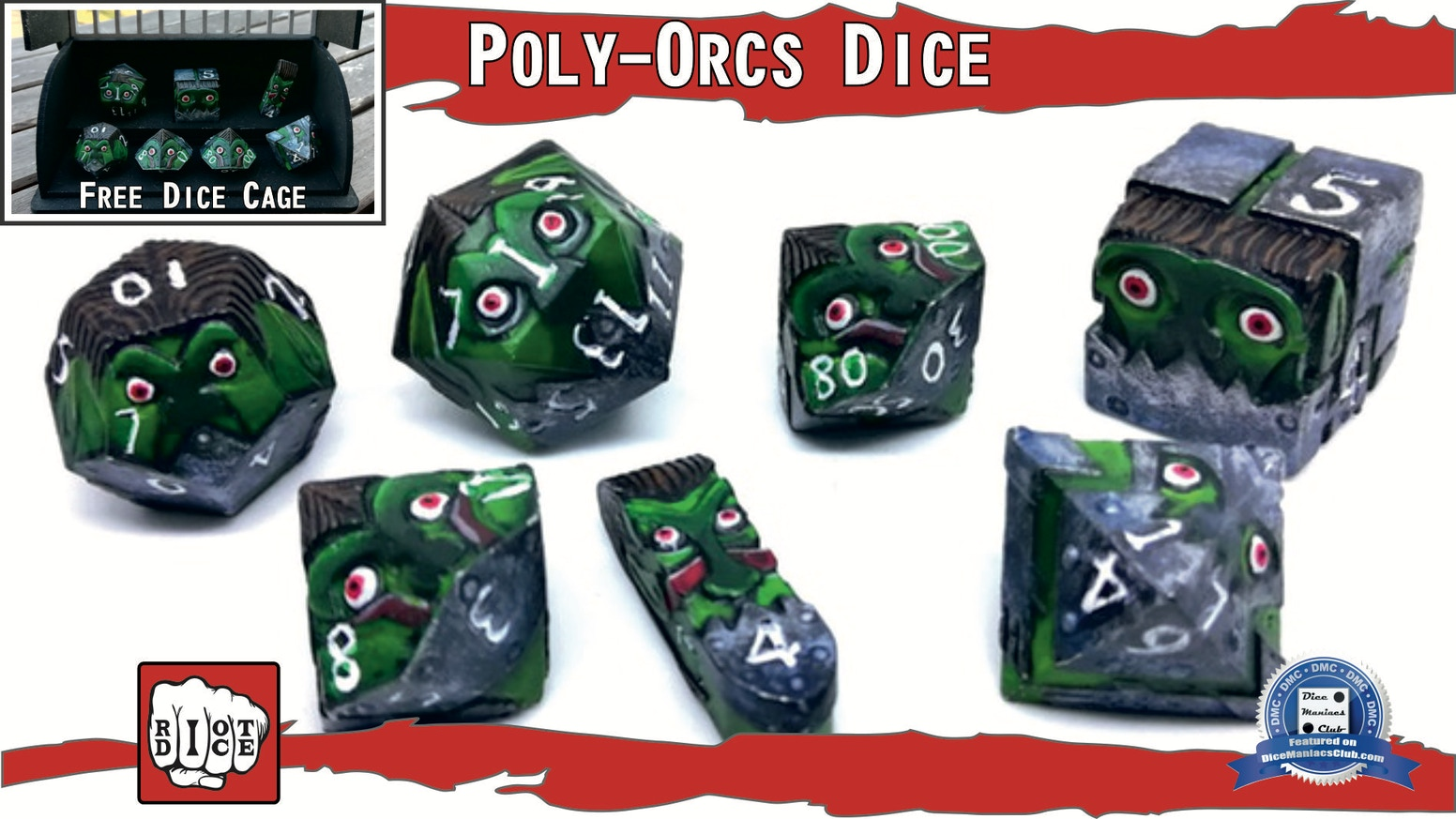 The first ever scupted set of metal polyhedric dice also usable as character miniature.