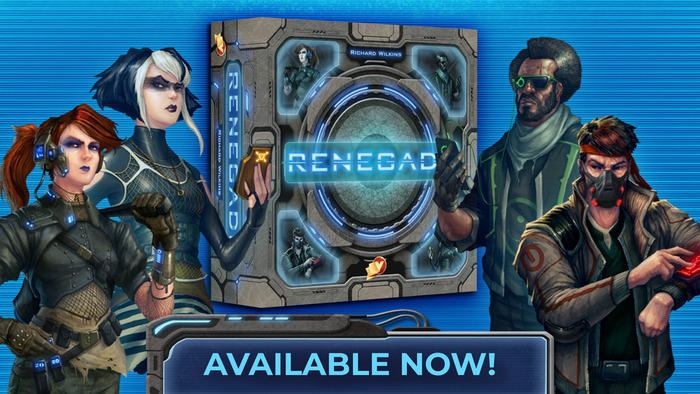 Ricky Royal's Renegade is a cyberpunk deck-building game for 1-5 players. You must save humanity from powerful Super-Massive Computers.