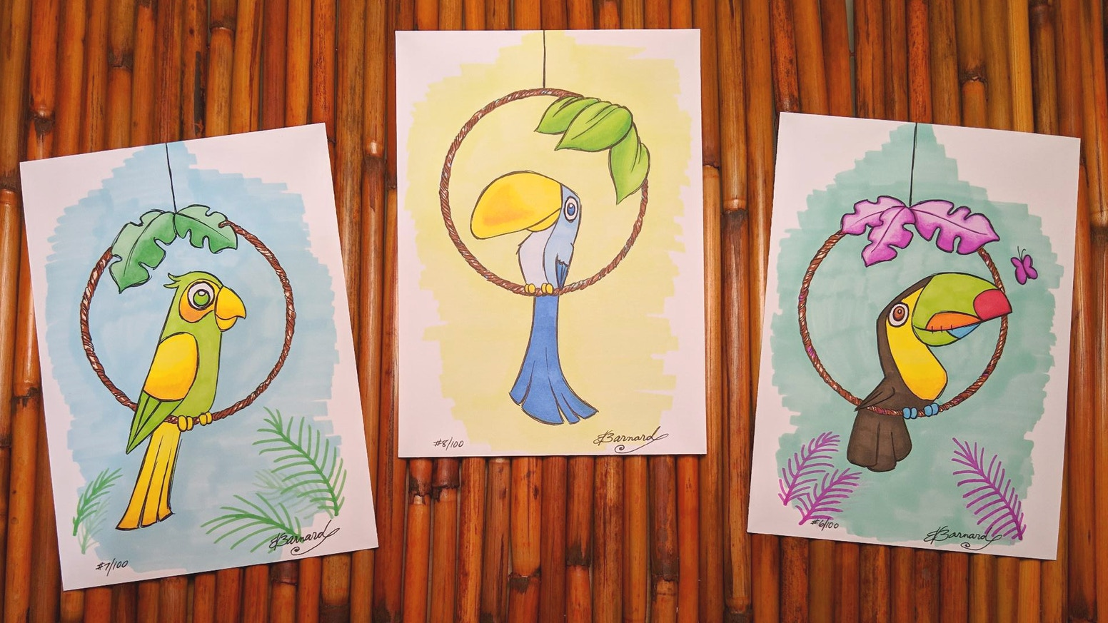 Add a little tropicoolness to your space with handmade bird cartoon illustrations (or should we say: Illustrayfuns!).