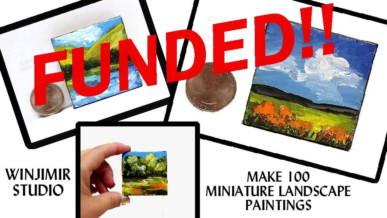 I will be creating 100 miniature landscape paintings. Each work will be an original painting, on 2 inch by 2 inch stretched canvas.