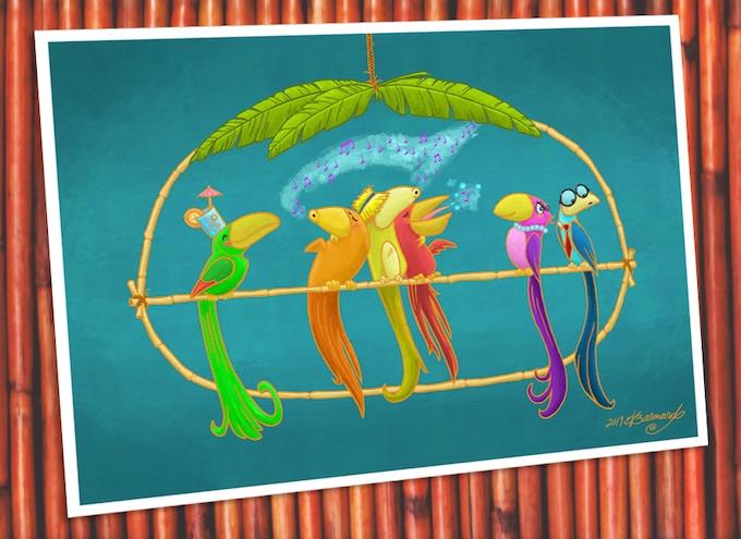 """New, never-before-seen """"Bird Bar"""" print. Ooh, aah!"""