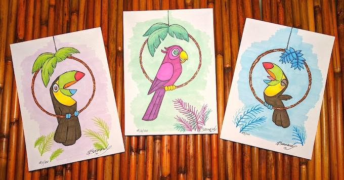 3 of the 100 tropicool birds awaiting adoption.