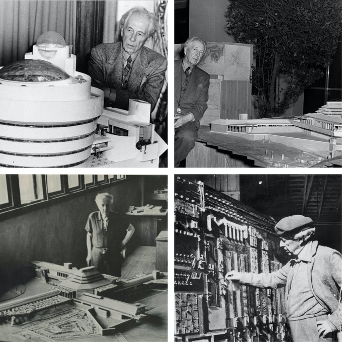 (Frank Lloyd Wright with his model of the Guggenheim Museum. Credit Associated Press. FLW with model of Wingspread FLW Archives, FLW With BC Model- FLW Foundation)