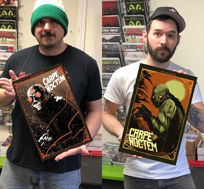 Here's Joe and Ben showcasing both the Kickstarter-exclusive Invisible Man cover and the Creature variant cover.
