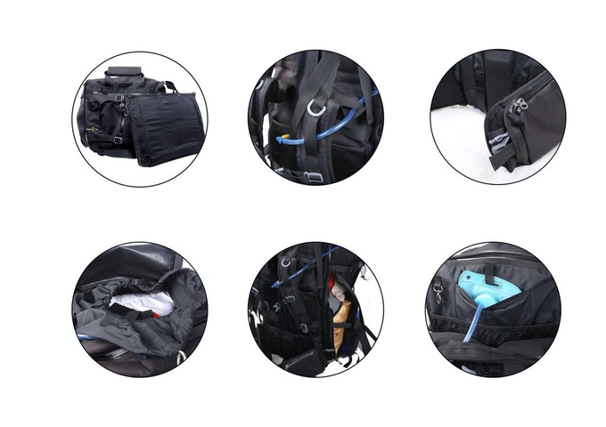 (1) Separate Laptop Sleeve  (2) Adjustable Torso length (3) Strap pocket (4) Four access points (5) Inbuilt Hydration Pack