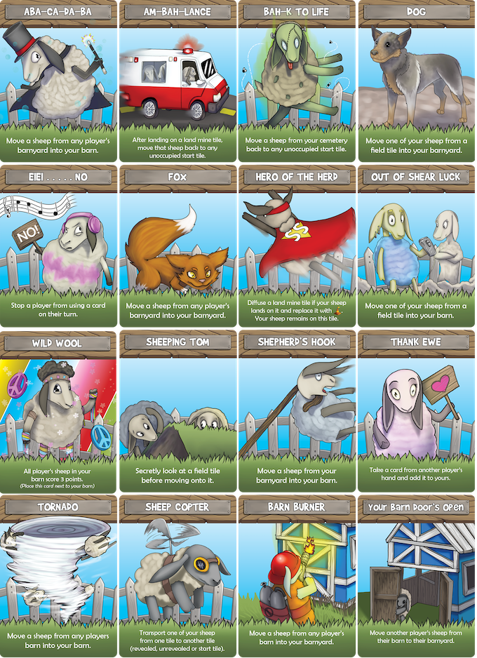 Blue background cards are shown above. There is also a red, green and yellow variation of each card.