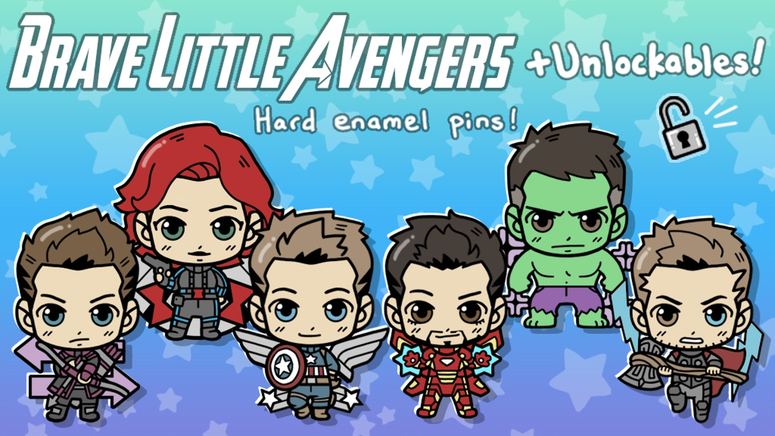 """""""Brave Little Avengers"""" is a set of hard enamel pins featuring petite versions of our favorite heroes."""