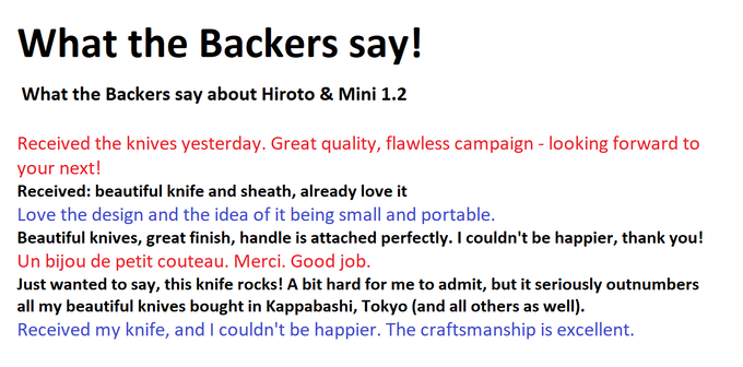 Backer comments about Hiroto Products