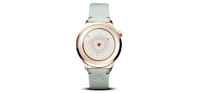 Polished Rose Gold case with white dial and leather strap