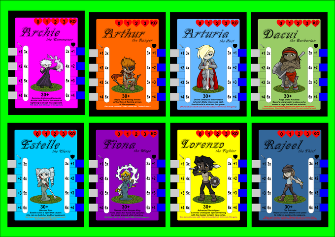 The front of each Hero card has stats and abilities for the (Dueling Version) of the game.