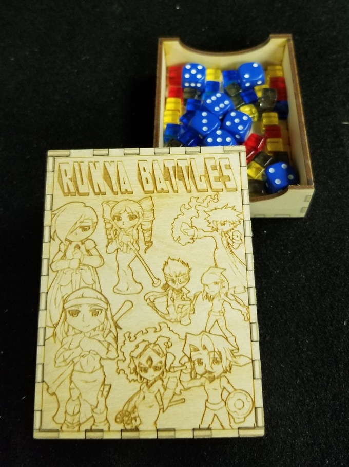"""This box was my VERY first prototype back when I was still calling the game """"Runya Battles"""".  The box you will be getting will have the correct title, but the rest of the box remains unchanged."""