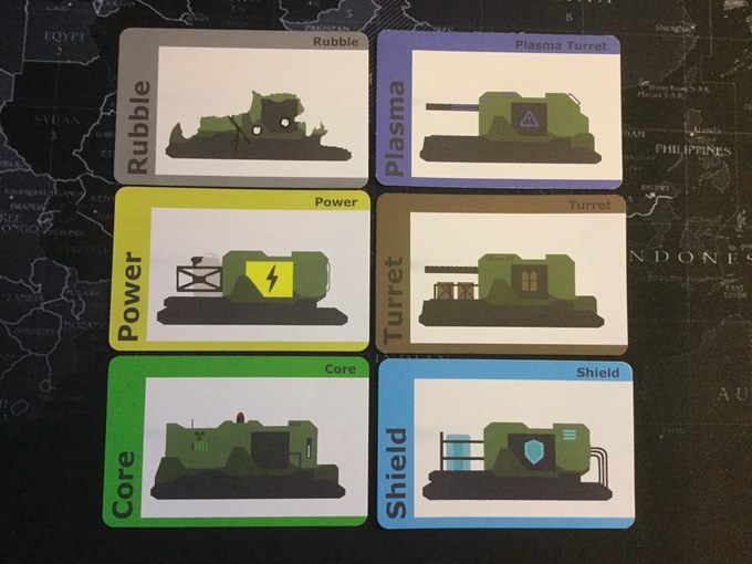 A closer view of each card (some wear on the cards due to play)